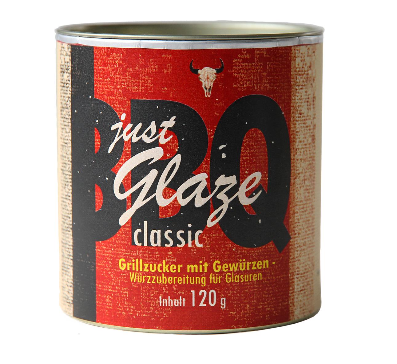 Just Glaze, Classic, Bio Grillzucker mit Gewürzen  Füllgewicht: 120g